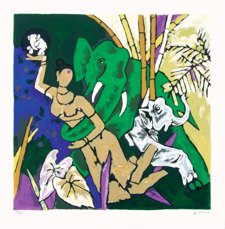 Figurative Serigraphs Art Painting title 'Kerala 3' by artist M. F. Husain