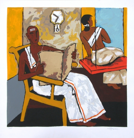 Figurative Serigraphs Art Painting title 'Kerala 5' by artist M. F. Husain