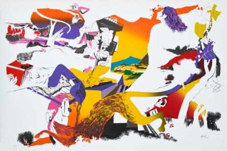 contemporary Serigraphs Art Painting title 'Kiss' by artist Nabibakhsh Mansoori