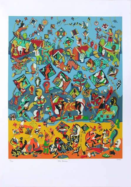 Figurative Serigraphs Art Painting title 'Kite Festival' by artist Jagdeep Smart