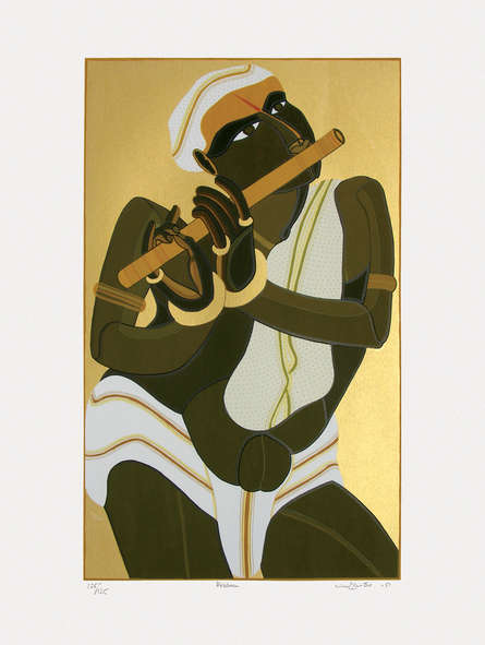 Religious Serigraphs Art Painting title 'Krishna' by artist Thota Vaikuntam