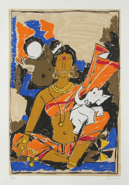 Religious Serigraphs Art Painting title 'Laxmi' by artist M. F. Husain