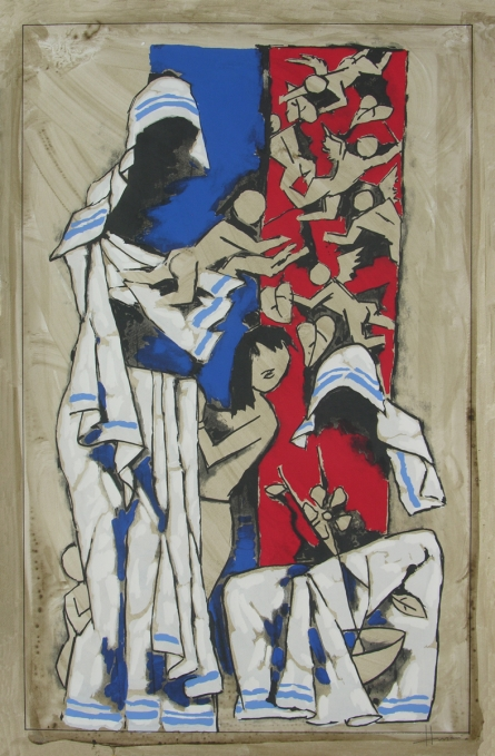 Figurative Serigraphs Art Painting title 'Mother' by artist M. F. Husain