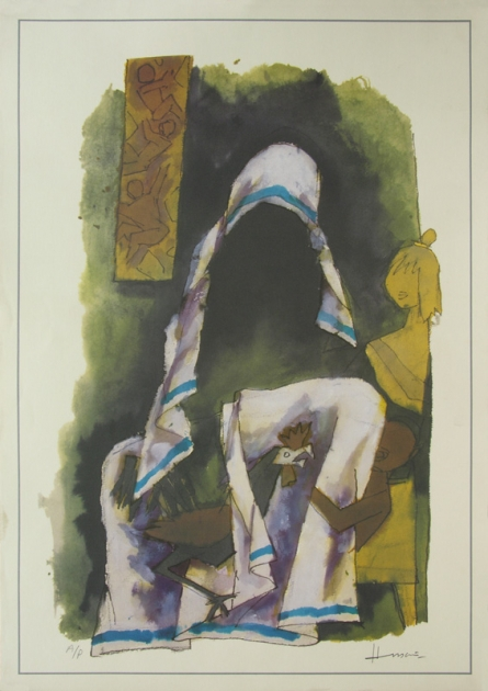 Figurative Serigraphs Art Painting title 'Mother 1' by artist M. F. Husain