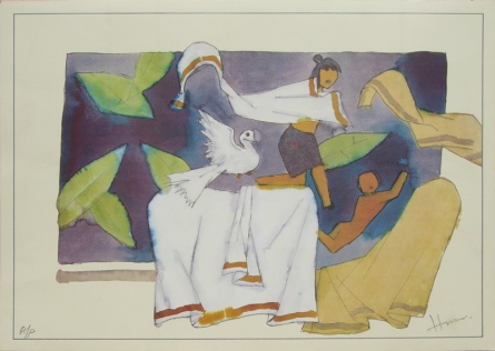 Figurative Serigraphs Art Painting title 'Mother 3' by artist M. F. Husain