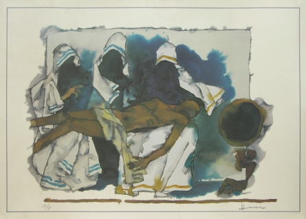 Figurative Serigraphs Art Painting title 'Mother 4' by artist M. F. Husain