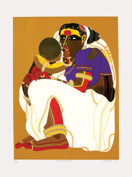 Figurative Serigraphs Art Painting title Mother And Child 2 by artist Thota Vaikuntam