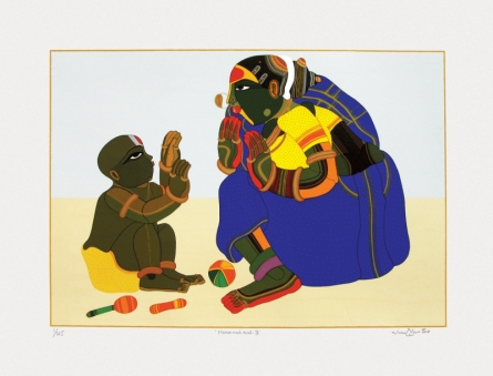 Figurative Serigraphs Art Painting title 'Mother And Child 3' by artist Thota Vaikuntam