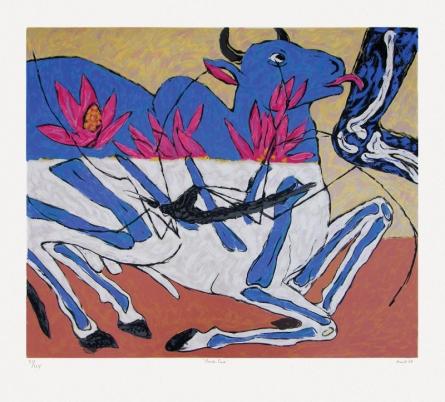 contemporary Serigraphs Art Painting title 'Nandi Cure' by artist Amit Ambalal