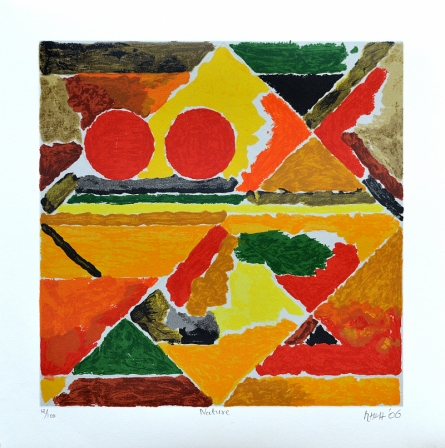 Abstract Serigraphs Art Painting title 'Nature' by artist S. H. Raza
