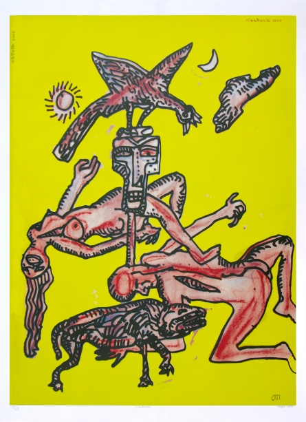 contemporary Serigraphs Art Painting title 'Nautanki' by artist Jogen Chowdhury