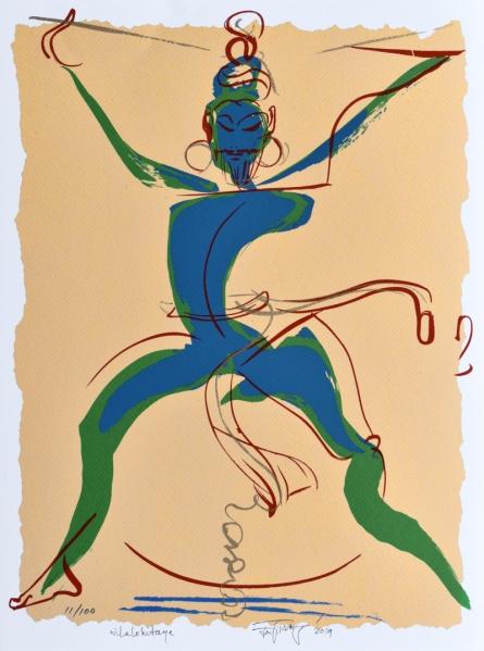 Religious Serigraphs Art Painting title 'Nilalohitaya' by artist Jatin Das