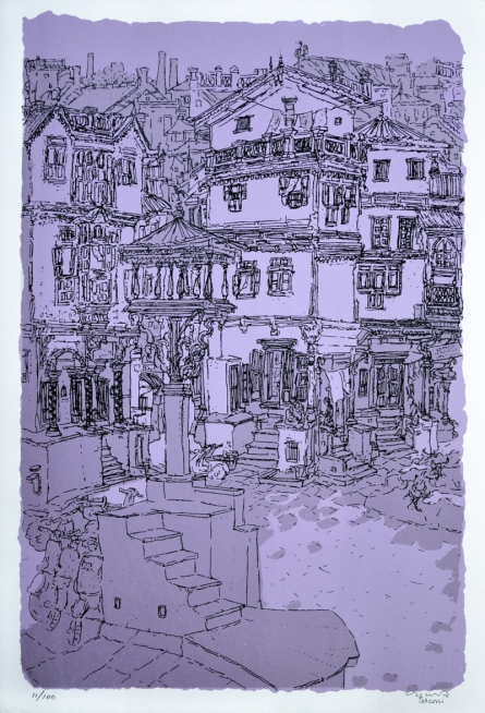 Cityscape Serigraphs Art Painting title Old City 2 by artist Vrindavan Solanki