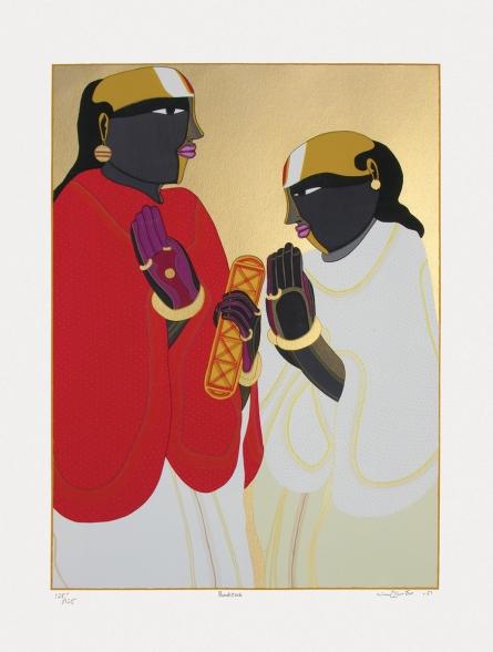 Figurative Serigraphs Art Painting title 'Panditas' by artist Thota Vaikuntam