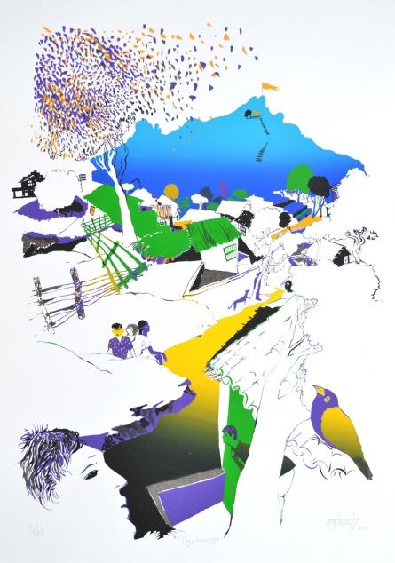 Landscape Serigraphs Art Painting title 'Pilgrimage' by artist Nabibakhsh Mansoori