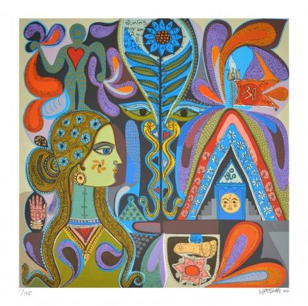 contemporary Serigraphs Art Painting title 'Prakriti' by artist Jyoti Bhatt