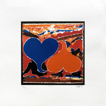 Abstract Serigraphs Art Painting title 'Prem' by artist S. H. Raza
