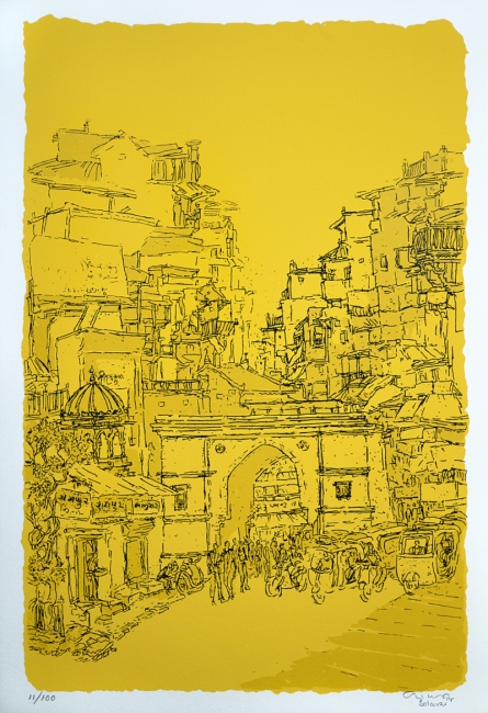 Cityscape Serigraphs Art Painting title Raipur Darwaza by artist Vrindavan Solanki
