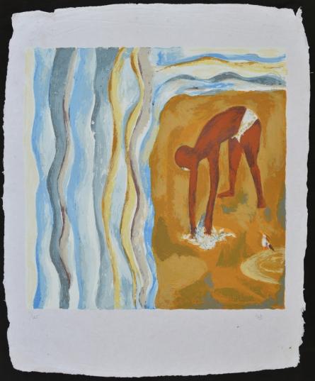 Figurative Serigraphs Art Painting title 'Salt March' by artist Haku Shah