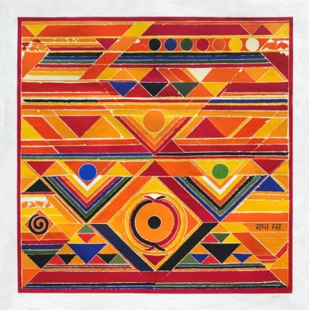 Abstract Serigraphs Art Painting title 'Sapta Ras' by artist S. H. Raza