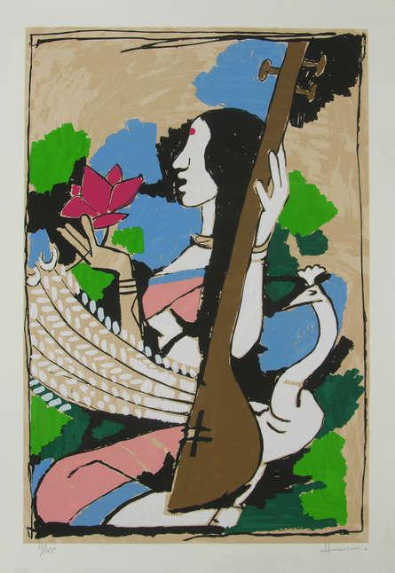 Religious Serigraphs Art Painting title 'Saraswati' by artist M. F. Husain