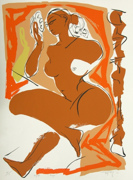 Figurative Serigraphs Art Painting title 'Sringar' by artist Jatin Das