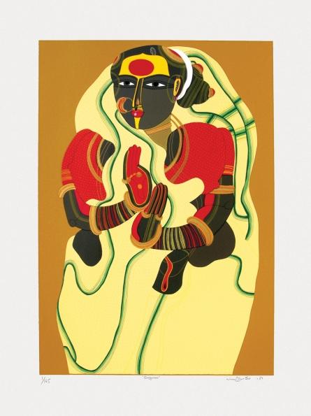 Figurative Serigraphs Art Painting title 'Sugana' by artist Thota Vaikuntam