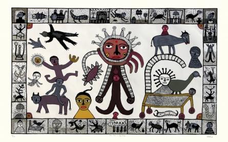 Religious Serigraphs Art Painting title 'Sun God In My Village' by artist Madhvi Parekh