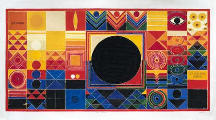 Abstract Serigraphs Art Painting title 'Surya Namaskar' by artist S. H. Raza