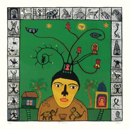 Figurative Serigraphs Art Painting title 'The Magician' by artist Madhvi Parekh