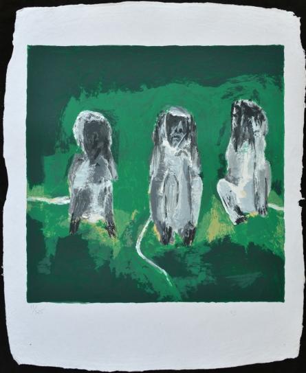 Animals Serigraphs Art Painting title 'Three Monkeys' by artist Haku Shah