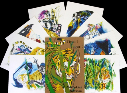 Animals Serigraphs Art Painting title 'Tiger' by artist Nabibakhsh Mansoori