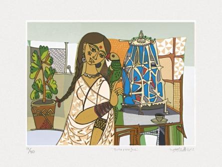Figurative Serigraphs Art Painting title 'Totaramjee' by artist Jyoti Bhatt