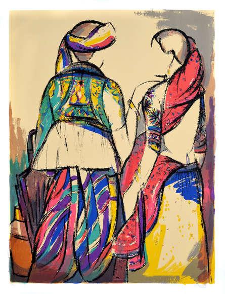 Figurative Serigraphs Art Painting title 'Tribal Couple' by artist Vrindavan Solanki