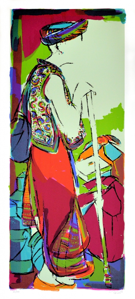 Figurative Serigraphs Art Painting title 'Tribal Man' by artist Vrindavan Solanki
