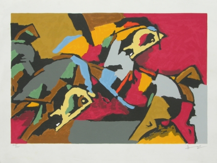 Animals Serigraphs Art Painting title 'Two Horses' by artist M. F. Husain