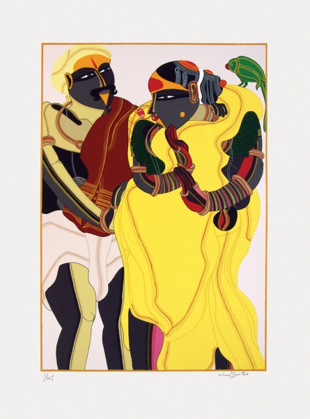 Figurative Serigraphs Art Painting title 'Untitled' by artist Thota Vaikuntam