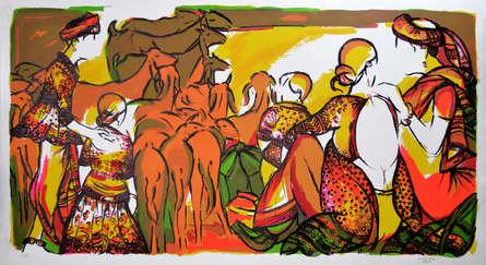 Figurative Serigraphs Art Painting title 'Untitled 1' by artist Vrindavan Solanki