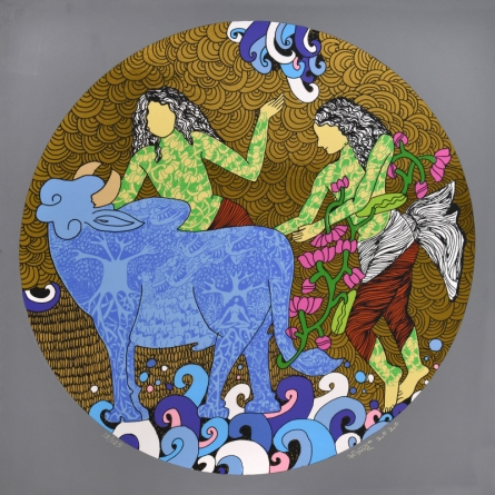 contemporary Serigraphs Art Painting title 'Untitled 2' by artist Seema Kohli