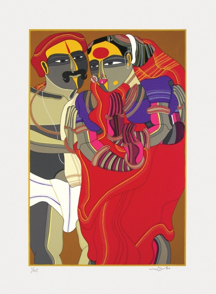 Figurative Serigraphs Art Painting title 'Untitled' by artist Thota Vaikuntam