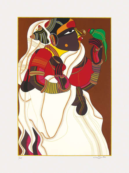 Figurative Serigraphs Art Painting title 'Untitled 3' by artist Thota Vaikuntam
