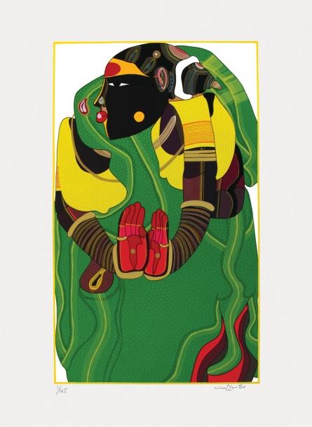 Figurative Serigraphs Art Painting title 'Untitled 3' by artist Thota Vaikuntam