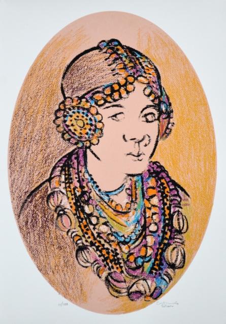 Portrait Serigraphs Art Painting title 'Untitled 3' by artist Vrindavan Solanki