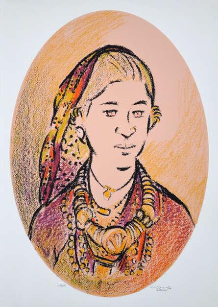 Portrait Serigraphs Art Painting title 'Untitled 4' by artist Vrindavan Solanki
