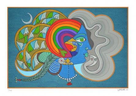 contemporary Serigraphs Art Painting title 'Varsha Ritu' by artist Jyoti Bhatt