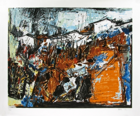 Cityscape Serigraphs Art Painting title 'Village 2' by artist S. H. Raza