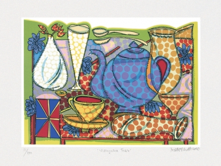 Still-life Serigraphs Art Painting title 'Villayatea Table' by artist Jyoti Bhatt