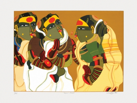 Figurative Serigraphs Art Painting title 'Women In Gossip' by artist Thota Vaikuntam