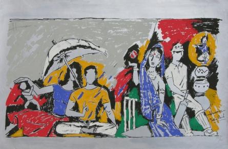 Figurative Serigraphs Art Painting title Yeh Kaun Sa Modh Hai Umar Ka 1 by artist M. F. Husain