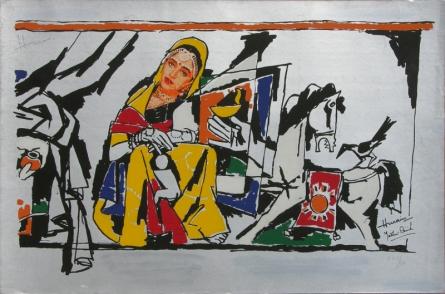 Figurative Serigraphs Art Painting title 'Yeh Kaun Sa Modh Hai Umar Ka 12' by artist M. F. Husain